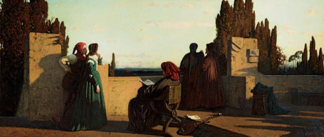 Vincenzo Cabianca (1827 – 1902) Scena medievale, 1861 Olio su tela, cm 58 x 133 Milano, Galleria d'Arte Moderna