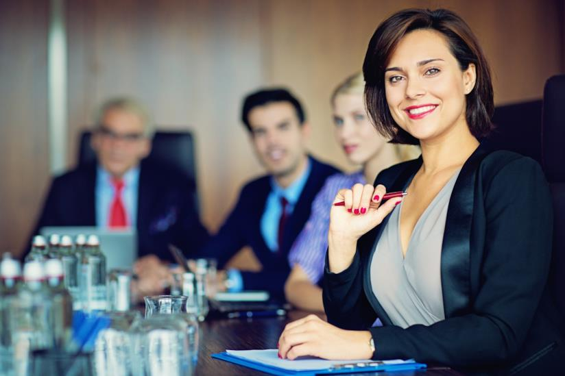 una donna durante una riunione