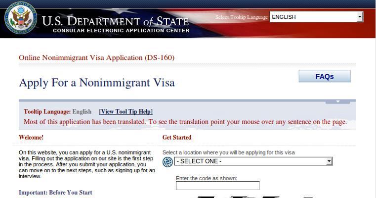 Domanda per Nonimmigrant Visa