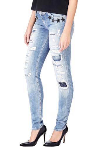 Jeans applicazioni stelle e strappi