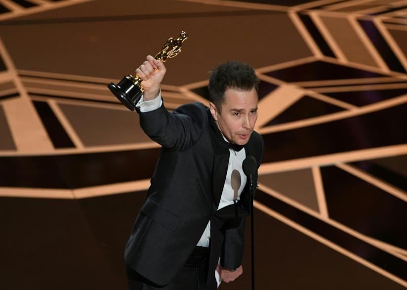 Sam Rockwell con il suo Oscar