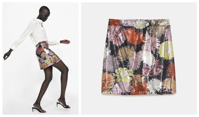 Con le paillettes e mini a fiori, la gonna di Zara per l'A/I 2018-19