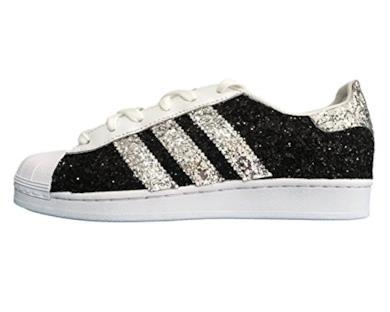 Superstar bianche con tessuto glitter nero e argento