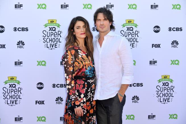 Nikki Reed e Ian Somerhalder sul tappeto rosso dell'evento EIF's XQ Super School Live