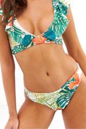 Slip bikini con stampa tropicale