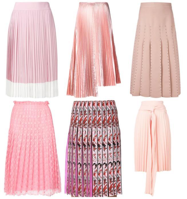 Collage di gonne rosa plissettate