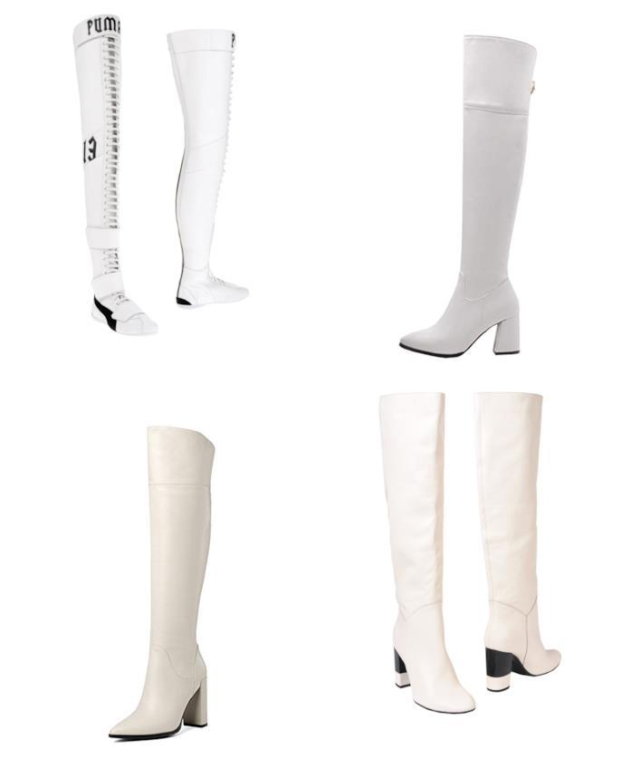 Stivali bianchi di moda per l'autunno inverno 2018-19