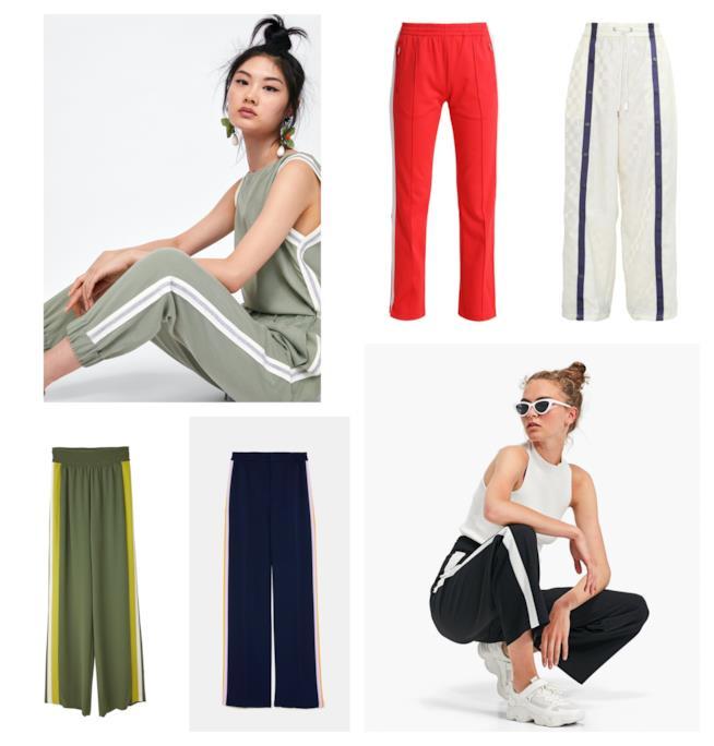 Con fasce laterali e sportivi, i pantaloni moda P/E 2018