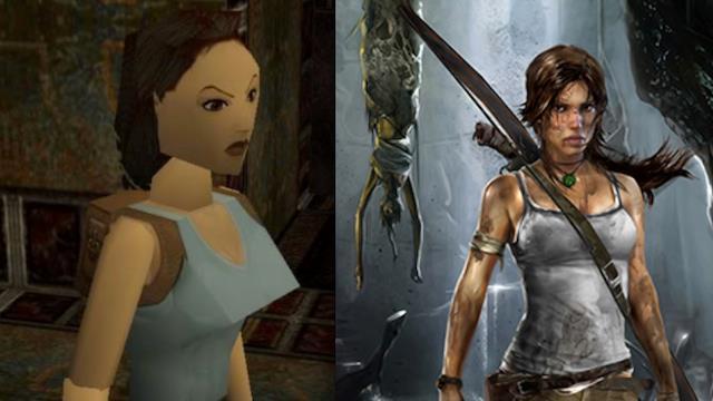 Lara Croft agli inizi e nell'ultima versione