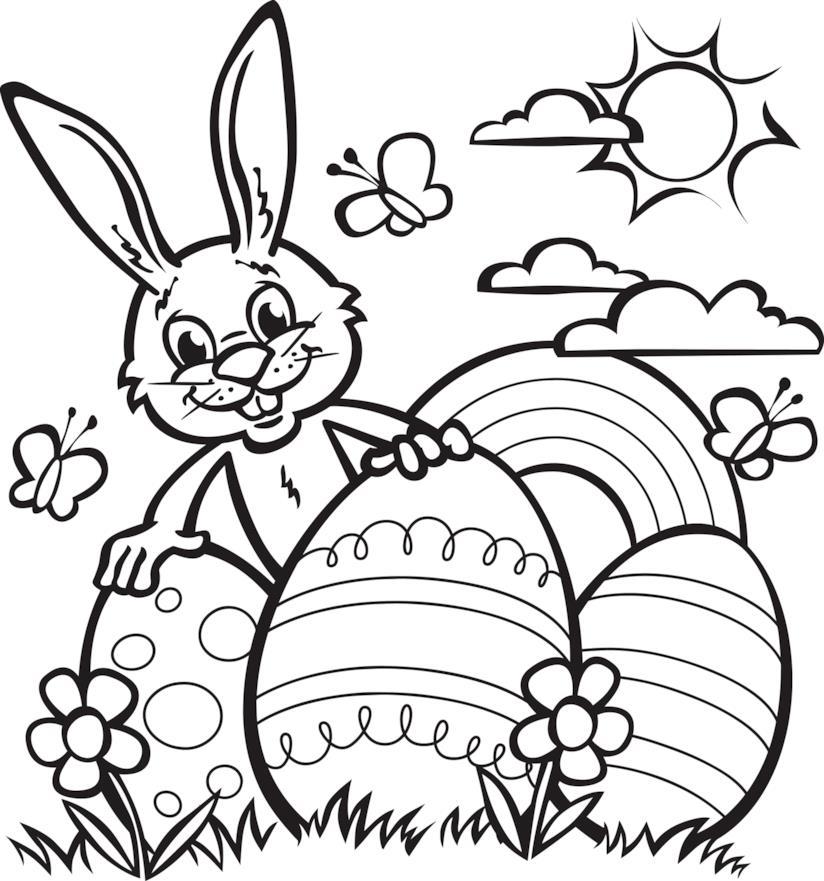 Coniglietto da colorare con le uova di Pasqua