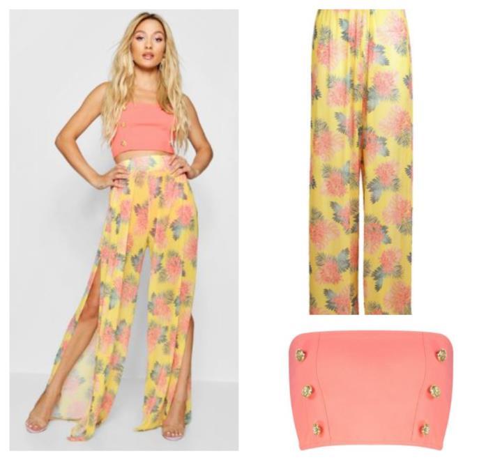 Floreali, i pantaloni con spacchi frontali della collezione Paris Hilton for Boohoo