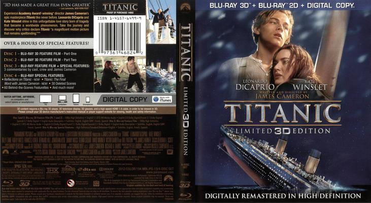 La cover del Blu-Ray di Titanic, edizione limitata in 3D del 2012