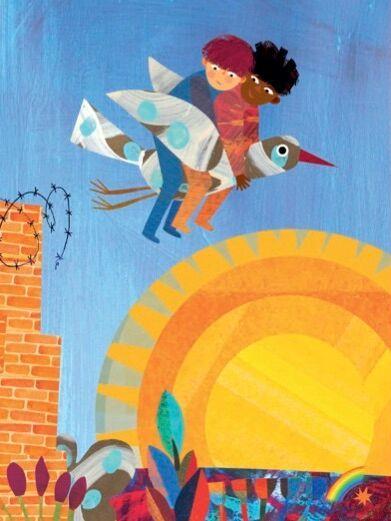 Due bambini su un uccello che volano sopra il sole