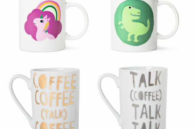 quattro mug con decorazioni
