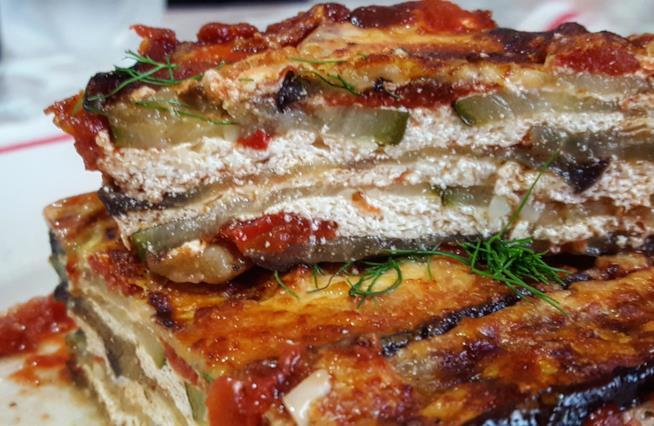 Sezione del tortino di verdure e formaggio