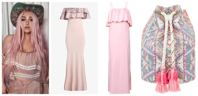 In rosa e scollo alla Bardot, i vestiti lunghi stile Kesha per l'estate 2018