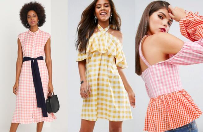 Collage di abiti dalle stampe Vichy colorate