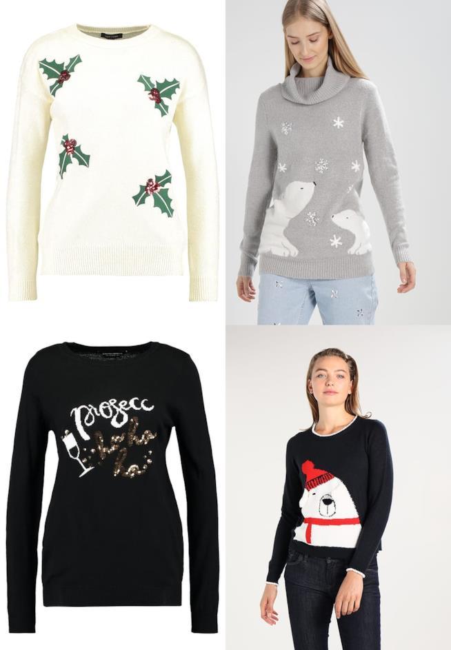 quattro maglioni decorati con motivi natalizi