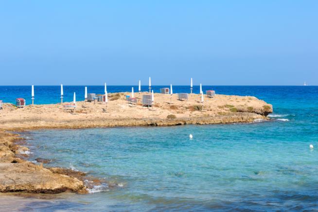 Spiaggia di Punta della Suina, Gallipoli, Salento, Italia.