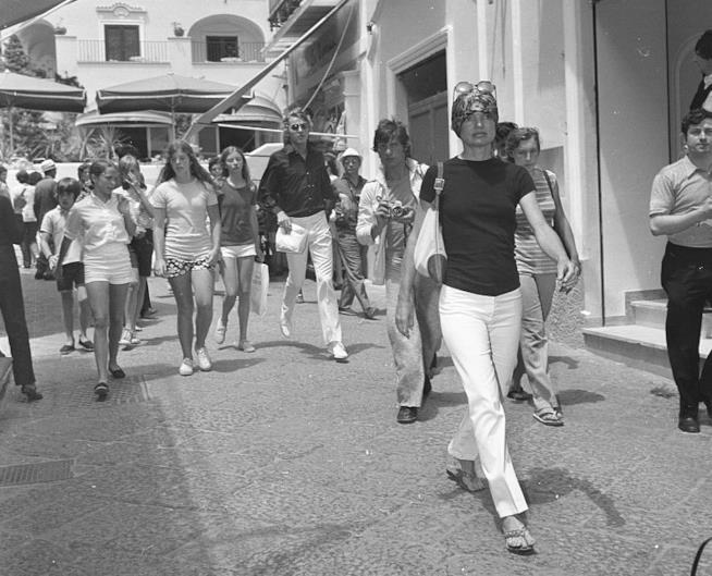 Jackie Kennedy immortalata sull'Isola di Capri