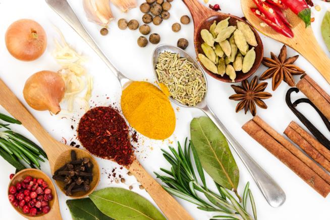 sette cucchiai, posizionati in ordine su uno sfondo bianco, arricchito da erbe da cucina,contengono spezie varie di diversi colori e tipologie