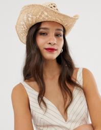 Cappello stile cowboy in paglia