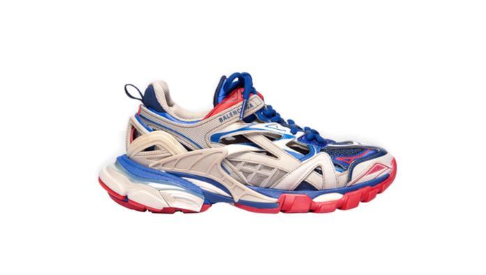 Sneakers Balenciaga Track.2 in rete e nylon beige, blu e rossa