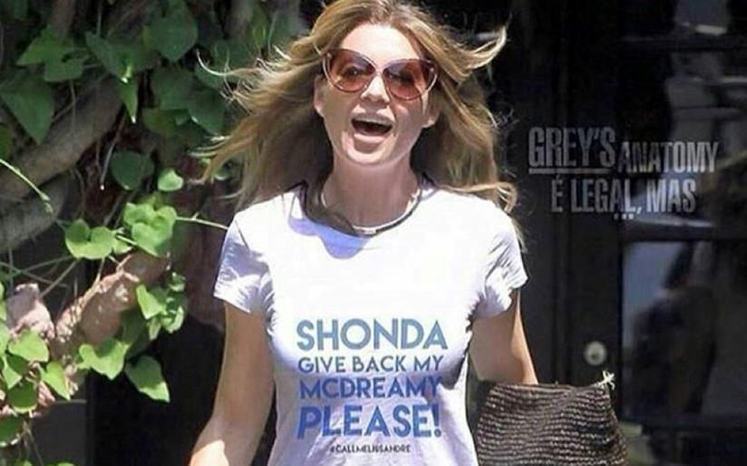 Ellen Pompeo indossa una maglietta per chiedere a Shonda di riavere Derek, ma è un fake