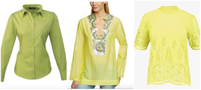 Collage di camicie color lime