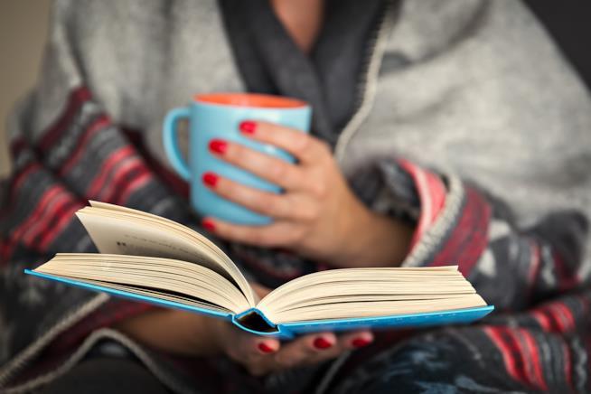 Un libro aperto tra le mani di una donna.