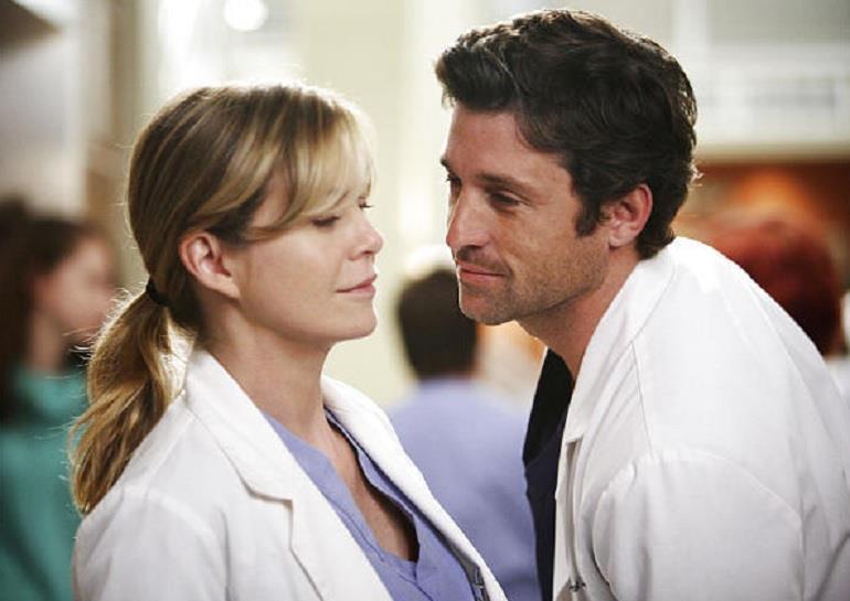 Una scena di Meredith e Derek in Grey's Anatomy