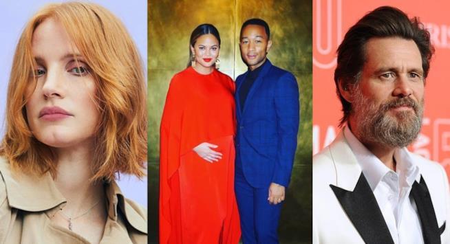 Foto delle star di Hollywood Jessica Chastain, Chrissy Teigen e John Legend, Jim Carrey