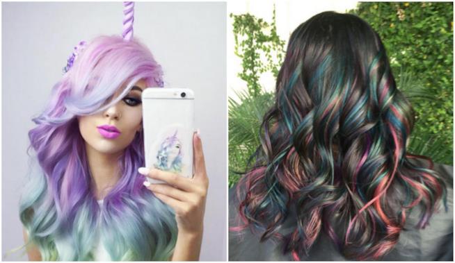 Un collage tra capelli Unicorn