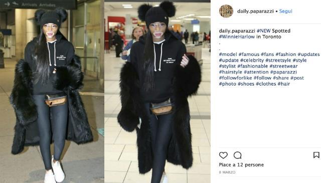 Winnie Harlow con un look casual all'aeroporto