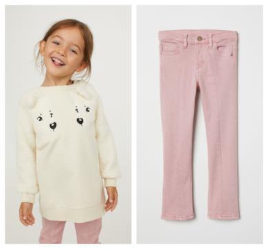 Pantaloni svasati in twill rosa