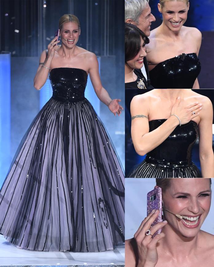 Michelle Hunziker tutti i dettagli sul'abito di Sanremo2019
