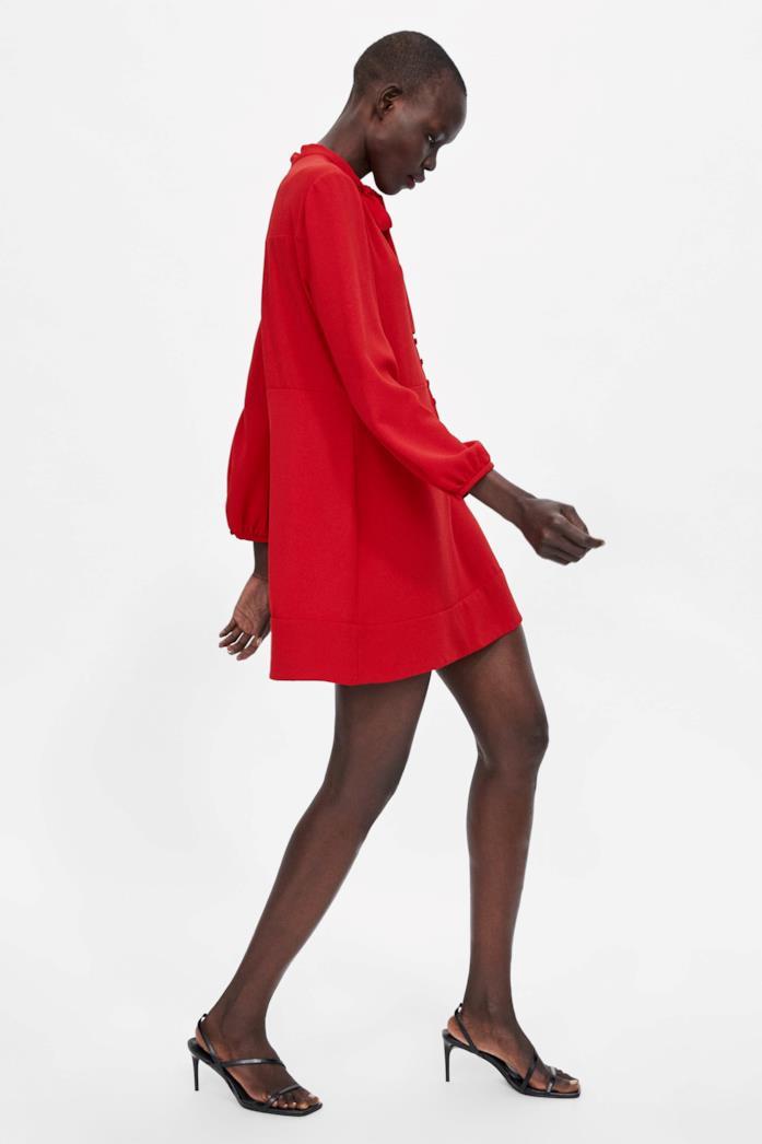 Vestito Zara mini morbido con collo alto e dettaglio di fiocco