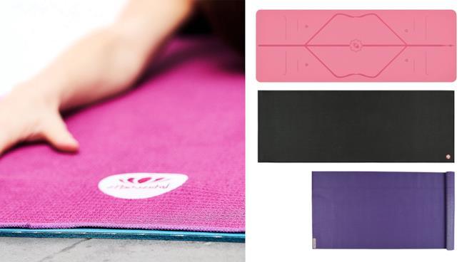Donna che pratica yoga su tappeto colorato