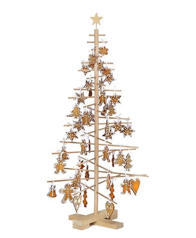 Albero di Natale stilizzato in legno con decorazioni a tema natalizio