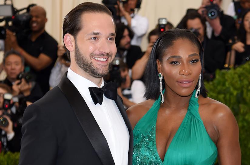 Primo piano di Serena Williams e del compagno Alexis Ohanian