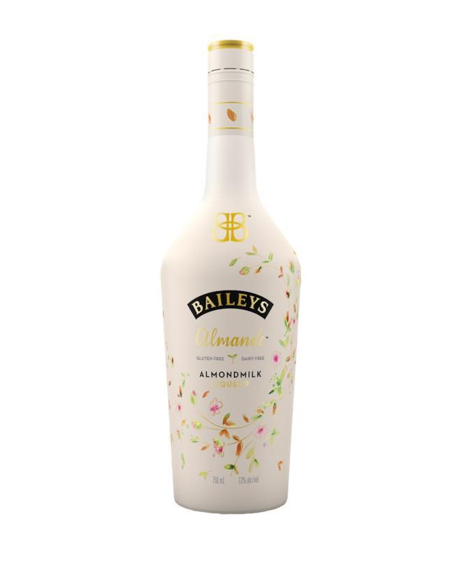 Una bottiglia di liquore Baileys a base di latte di mandorle