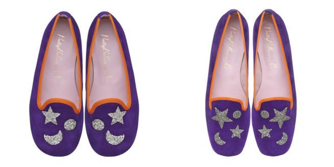 Due paia di ballerine in velluto viola decorate con stelle e lune glitter di Primark
