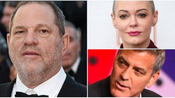 Un collage tra Harvey Weinstein, Rose McGowan e George Clooney