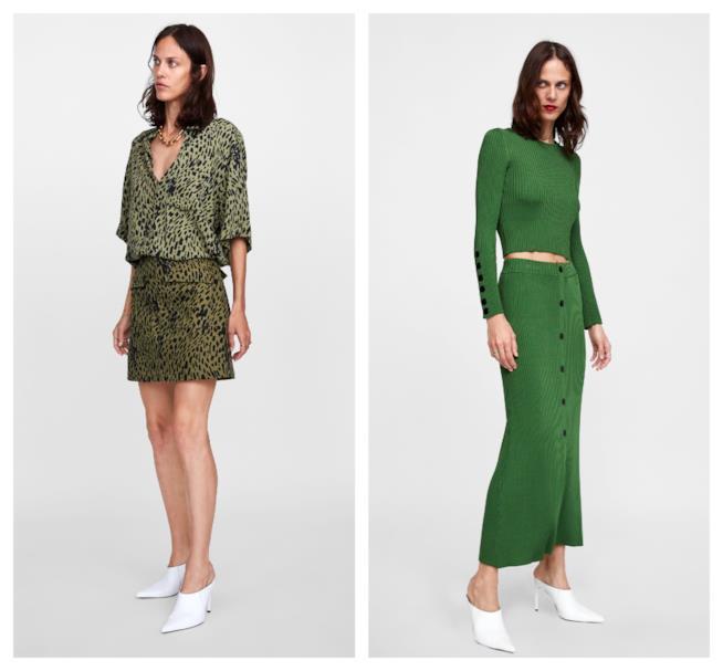 Verde, colore di moda sulle gonne autunno inverno 2018-19