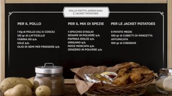 Pollo fritto e jacket potatoes