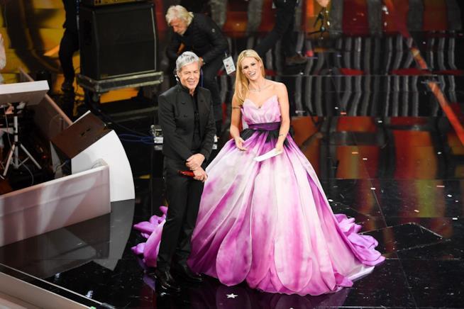 Michelle Hunziker e Baglioni a Sanremo 2018