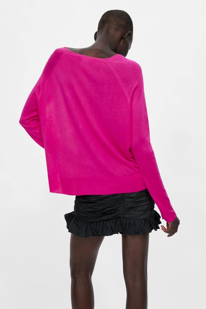 Pullover basic rosa fluo in maglia con collo rotondo e manica lunga