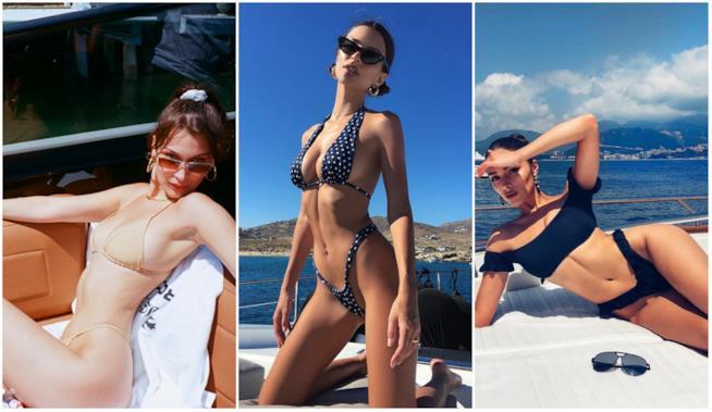 Bella Hadid, Emily Ratajkowski e Olivia Culpo in bikini tanga