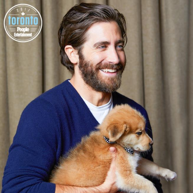L'attore Jake Gyllenhaal tiene in braccio un cucciolo