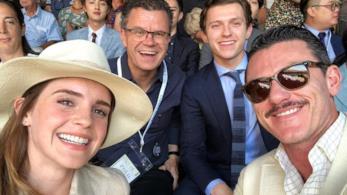 Gli attori Emma Watson, Tom Holland e Luke Evans a Wimbledon